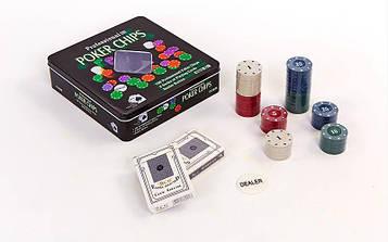 Покерний набір в металевій коробці-100 фішок (з номіналом,2 кол. карт)
