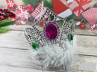 Корона карнавальная с камнями и пухом, только упаковкой по 12 штук