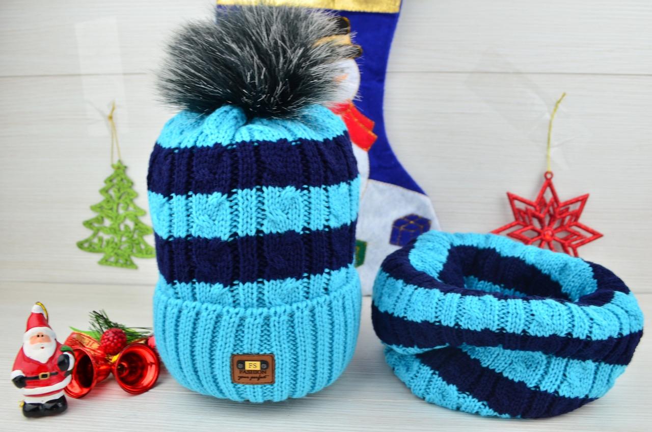 Шапка детская с помпоном на флисе зима с бафом  в комплекте