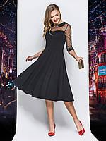 8910f058279 Красивое черное женское платье-миди с сеткой в горошек р.44