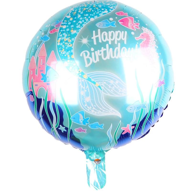 """Фольгированный шар """" Русалочка """" с днем рождения, диаметр 45 см."""
