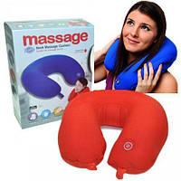 Масажна подушка-підголівник для подорожей Neck Massage Cushion, виброподушка антистрес