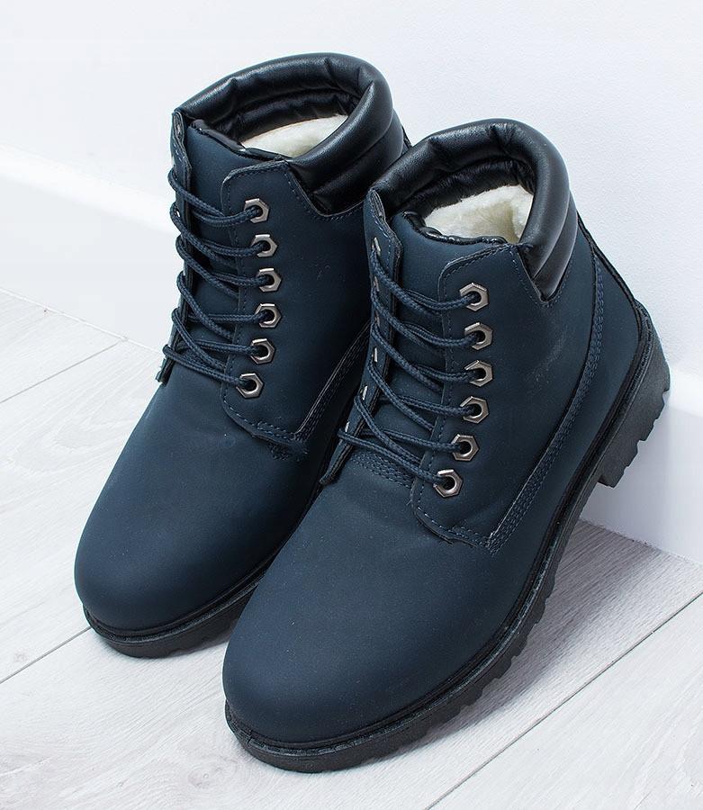 Польские ботинки темно-синего цвета на зиму