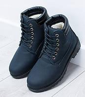Польские ботинки темно-синего цвета на зиму, фото 1