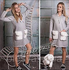 Утепленное платье для девочки подростка Meh Размеры 140- 164
