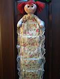 Органайзер Кукла подвесной 5 карманов 77х28см светло-желтый, фото 2