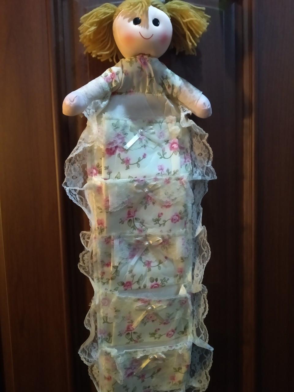 Органайзер Кукла подвесной 5 карманов 77х28см светло-желтый