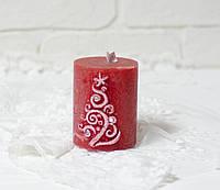 Свеча рустикальная красная с елкой(ароматическая), фото 1