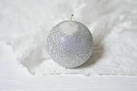 Свеча-шар 6см в блестках серебрянная, фото 1