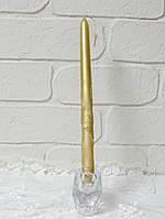 Свеча столовая золотистая с декором 2,3*30 см, фото 1