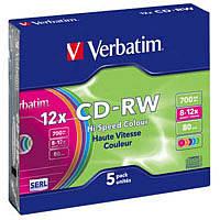 CD-RW Verbatim (43167) 700MB 12x Slim, 5шт Color