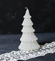 Свеча декор. у форме новогодней елки белая 22*10,5 см