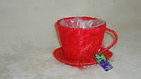 Кашпо чашка из сизали большая красная