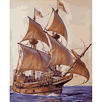 """Картина по номерам """"Покоряя волны"""" KHO2707 на тему Морской пейзаж р. 40*50 см ТМ Идейка / Royaltoys"""