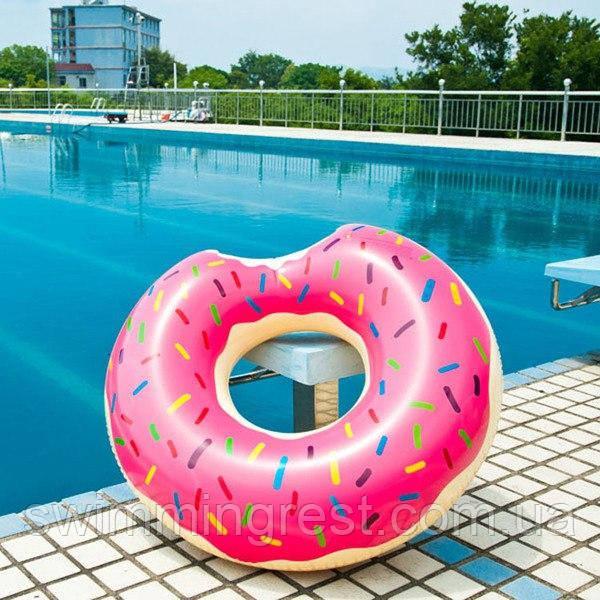 Надувной круг Пончик Donuts 90 см розовый