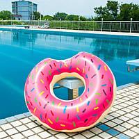 Надувной круг Пончик Donuts 90 см розовый, фото 1