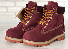 Зимние ботинки Timberland Red, женские ботинки с иск. мехом. ТОП Реплика ААА класса.