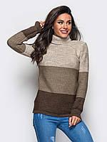 S-L / Женский трехцветный вязаный свитер Karisa, бежево-коричневый  S-L
