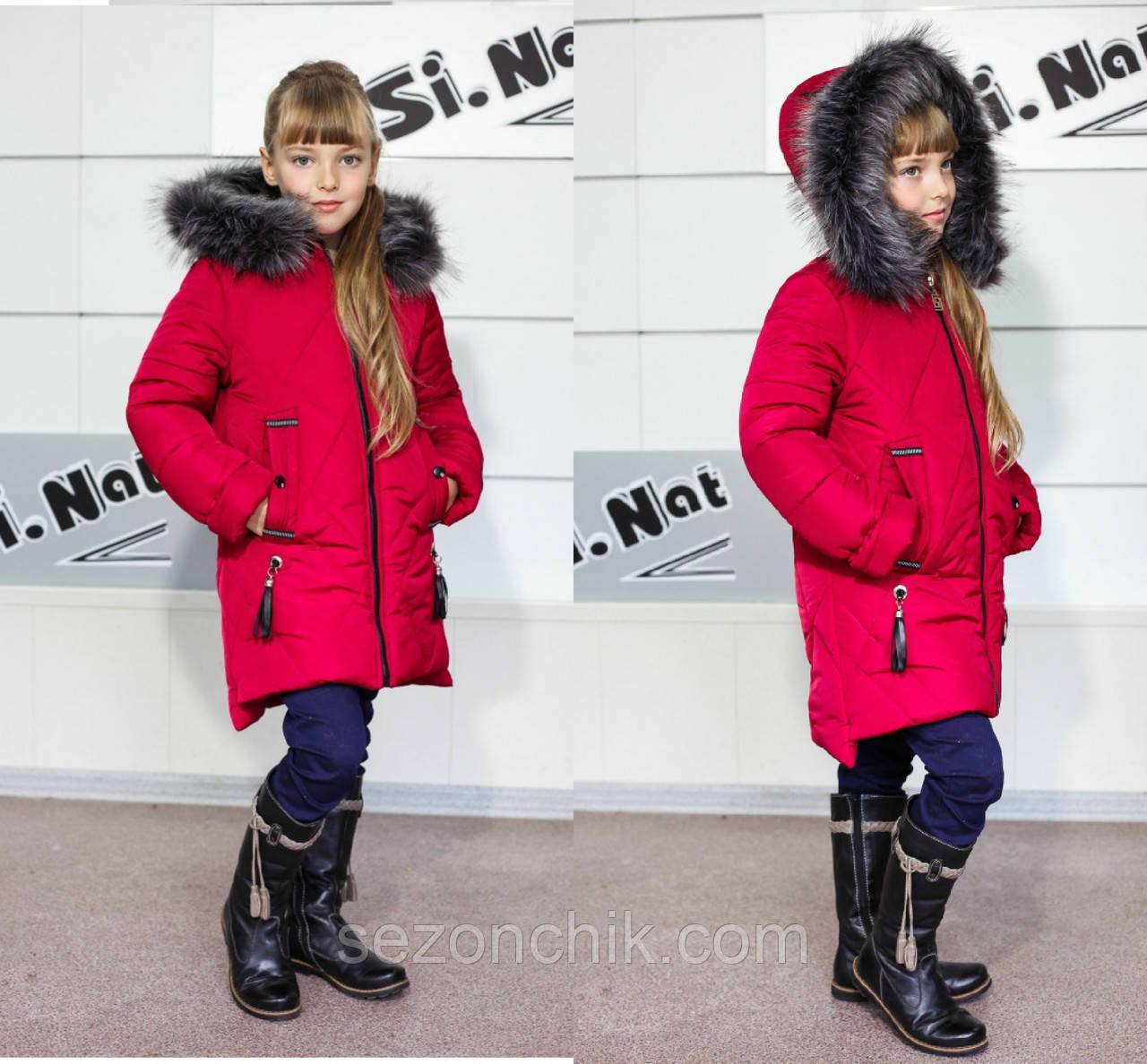 Модное детское пальто на девочек с мехом удлиненное