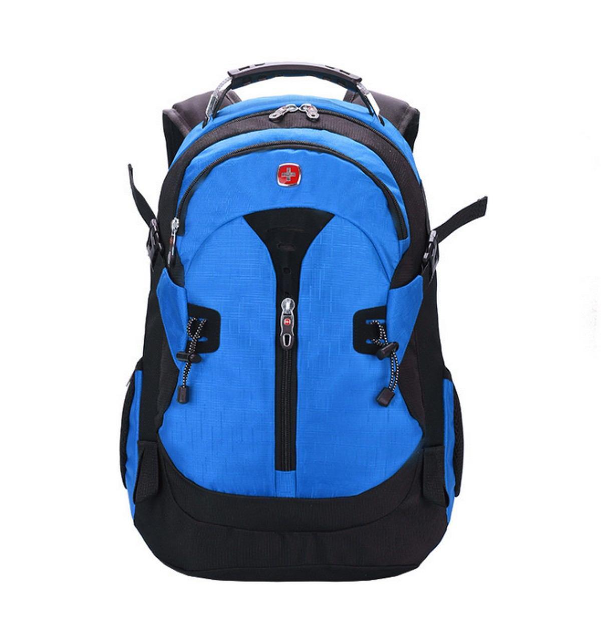 Вместительный рюкзак в стиле SwissGear Wenger, свисгир. Синий с черным. + Дождевик. / s7255 blue