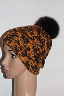 Вязаная зимняя шапка с косами ручная работа с меховым бубоном песец