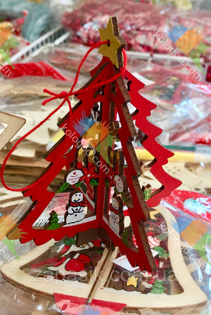 Новогоднее Деревянное Эко Украшение Елочка Колокольчик Звездочка Собери Сам 12 шт в упаковке
