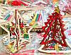 Новогоднее Деревянное Эко Украшение Елочка Колокольчик Звездочка Собери Сам 12 шт в упаковке, фото 3