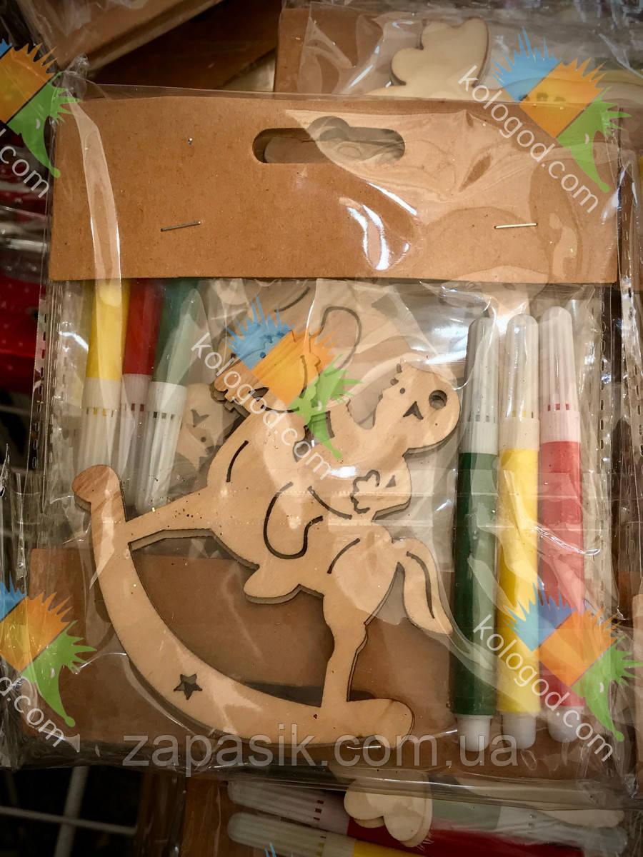 Новогоднее Украшение Деревянное Эко Сделай Сам Набор с Фломастерами 12 шт в упаковке