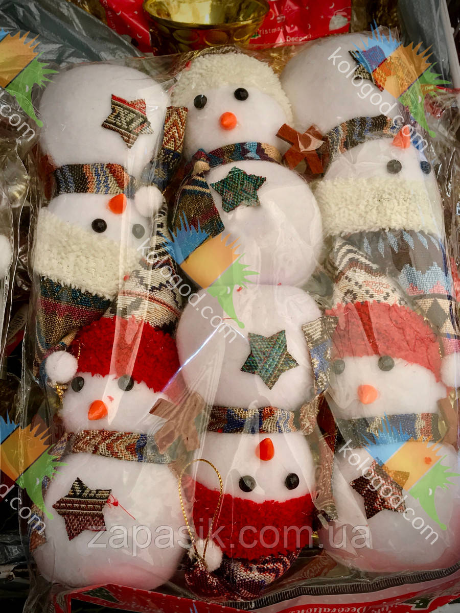 Новогоднее Украшение на Елку Снеговик в Шапочке и Шарфике Эко Игрушка 6 шт в Упаковке