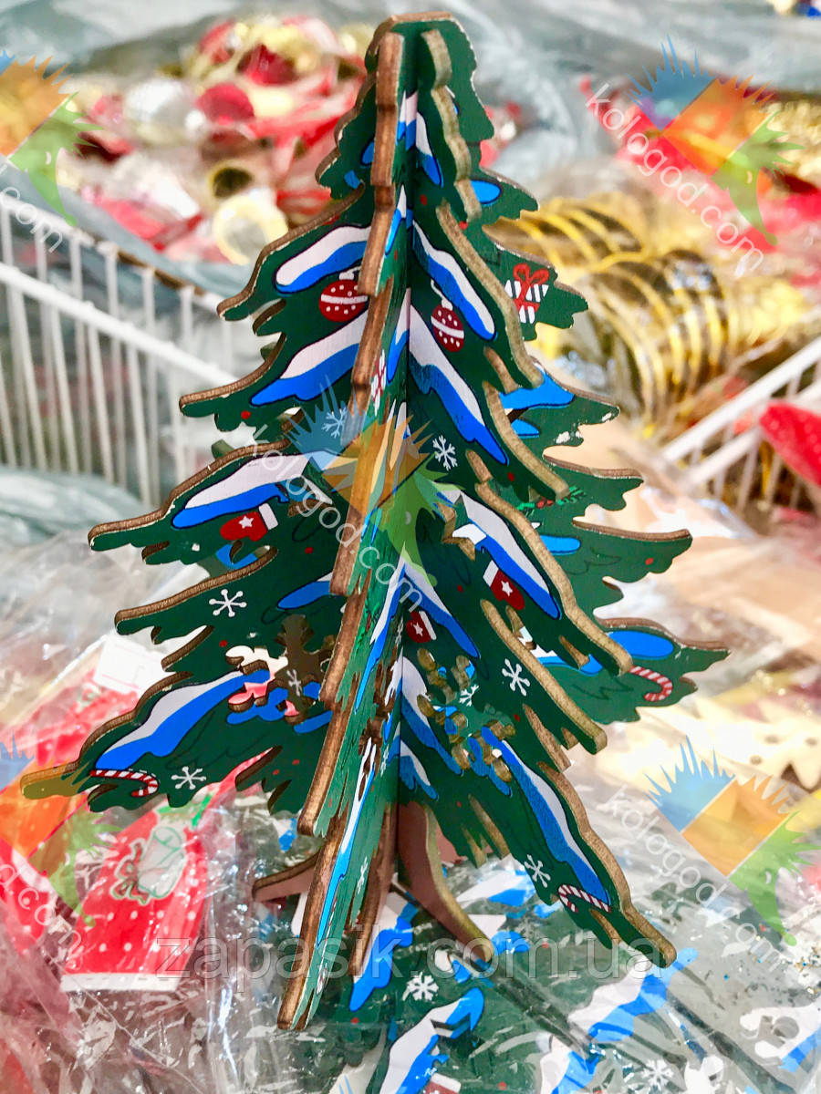 Новогоднее Украшение Эко Деревянная Елочка Сделай Сам 12 шт в упаковке