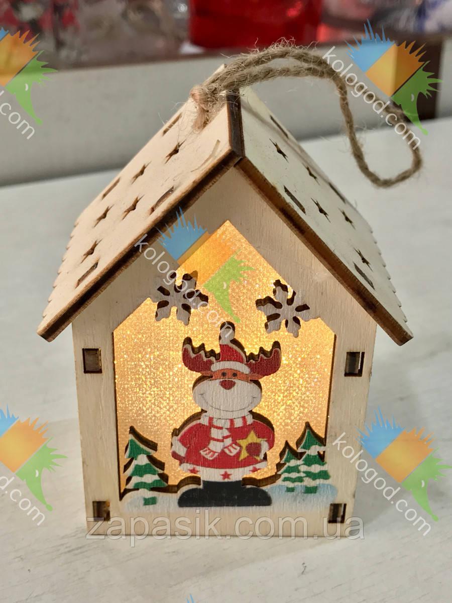 Новогодний Эко Домик Деревянный Оригинальный Сувенир Интерьерное Украшение с Подсветкой 6 шт в упаковке