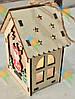 Новогодний Эко Домик Деревянный Оригинальный Сувенир Интерьерное Украшение с Подсветкой 6 шт в упаковке, фото 3