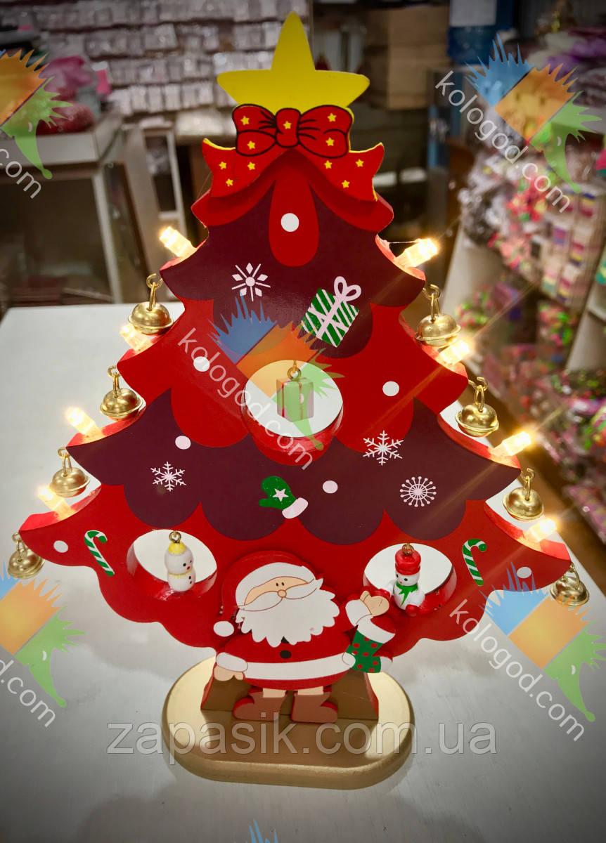 Новогодний Сувенир Светящаяся Деревянная Эко Елочка Собери Сам
