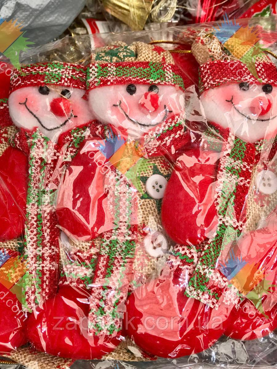 Новогодняя Елочная Игрушка Эко Снеговик и Дед Мороз Одежка в клетку упаковка 12 шт