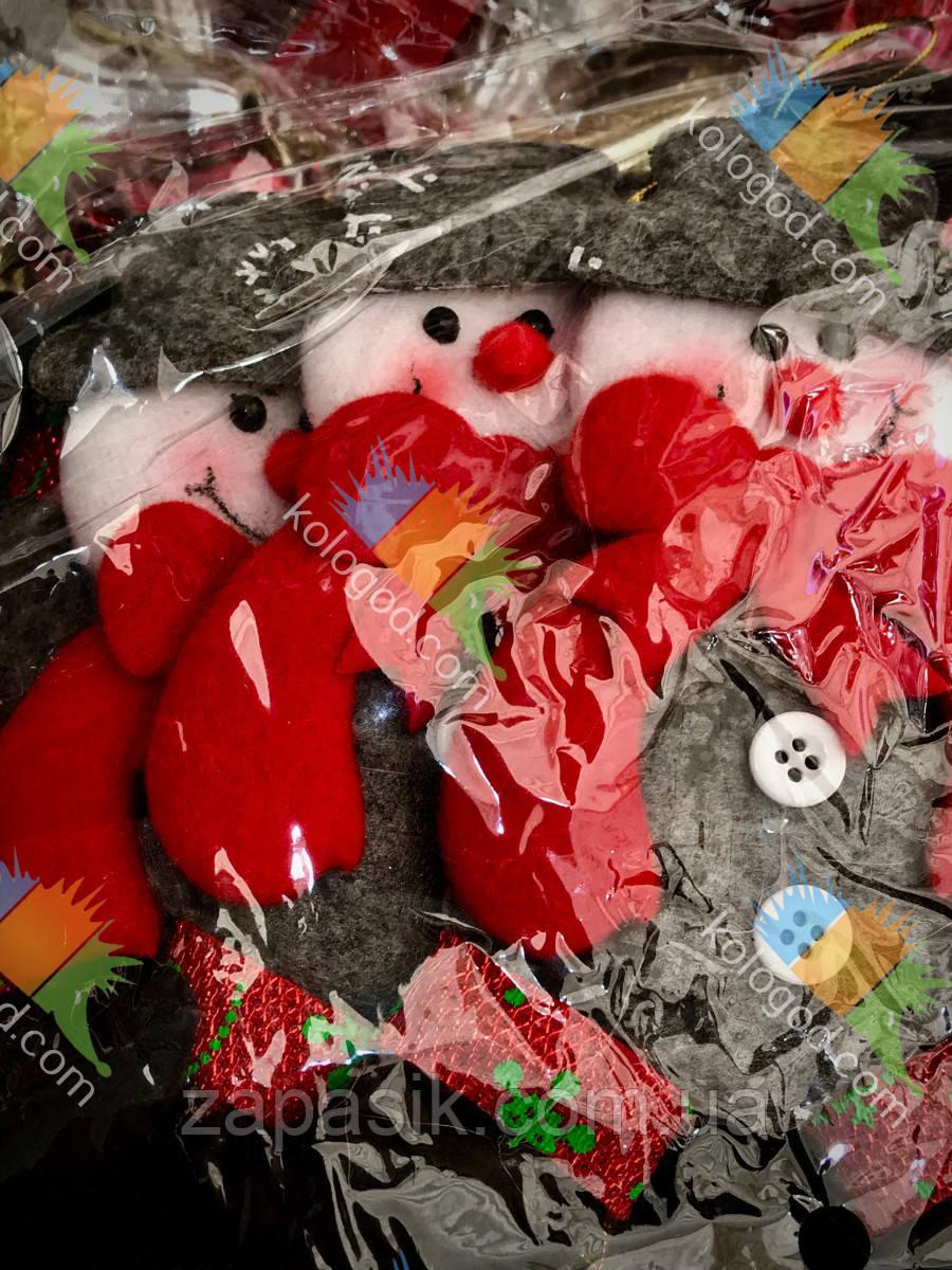 Новогодняя Елочная Игрушка Эко Снеговик и Дед Мороз Одежка из Войлока упаковка 12 шт