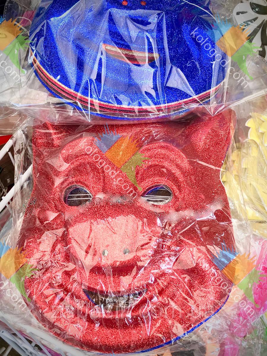 Новогодняя Маска Свинка Символ Года Пластик Цвета в Ассортименте 12 шт в упаковке