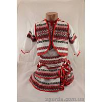 Вышитый поплиновый костюм для девочки (5-6 лет)