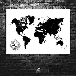 Постер Карта мира с компасом, чёрно-белая. Размер 60x42см (A2). Глянцевая бумага