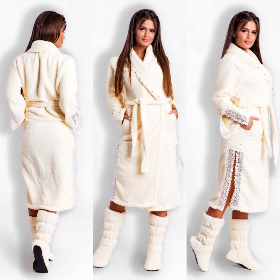 """Шикарный женский махровый комплект халат + сапожки до больших размеров 106107 """"Кружево Жемчуг"""" в расцветках"""
