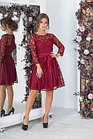 Нарядное красное женское платье ВЕНЕЦИЯ из гипюра. АРТ-7532/7, фото 1