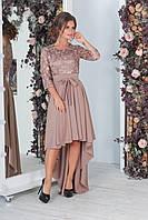 Шикарное женское гипюровое платье ЭММАНУЭЛЬ цвета капучино. АРТ-7534/7, фото 1
