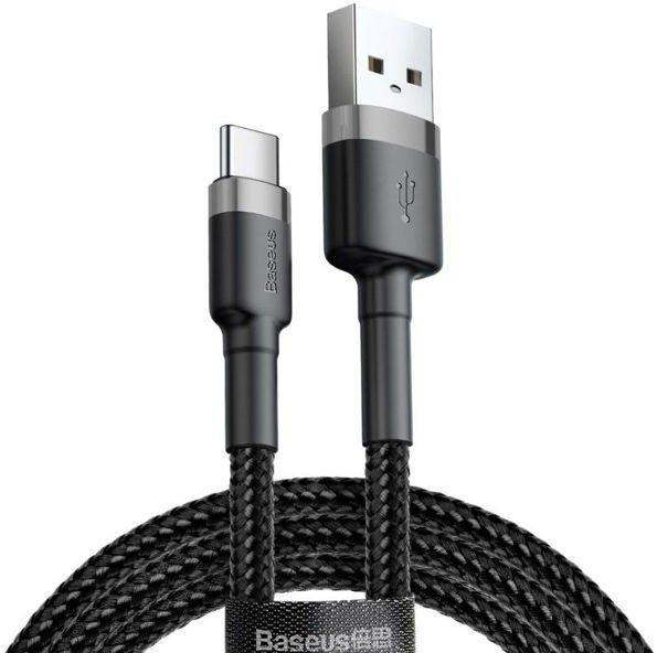 USB шнур Baseus Kevlar Type-C 1M 3A ( Gray/Black ) CATKLF-BG1