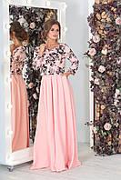 Нежно-розовое женское элегантное платье ВЕНЕРА с цветочным принтом   Арт-7537/7, фото 1