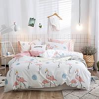 Полуторный комплект хлопкового постельного белья Королевский фламинго Berni
