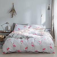Хлопковое полуторное постельное белье Фламинго с горошком Berni