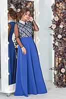 Нарядное удлиненное женское платье ВЕРОНИКА декорировано вышивкой из экокожи цвета электрик. Арт-7540/7, фото 1