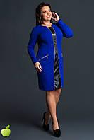 Облегающее женское батальное платье ЗМЕЙКА со вставкой из экокожи цвета электрик. АРТ-7539/7, фото 1