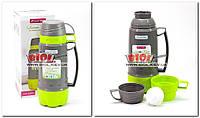 Термос 1,0 л пластиковий зі скляною колбою (колір - сіро-салатовий) + 3 чашки Kamille KM-2080-2, фото 1