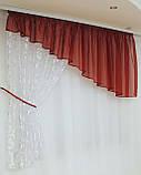 Занавеска Шифоновая  Бордо  + Белый, фото 2