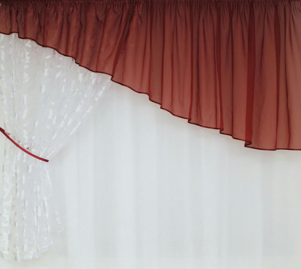 Занавеска Шифоновая  Бордо  + Белый